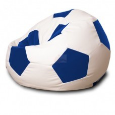 Кресло мяч Кожа Бело-синее