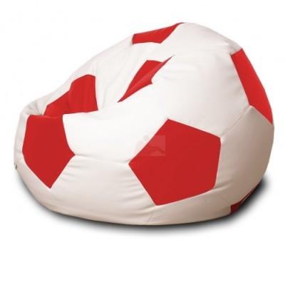 Кресло мяч Кожа Бело-красное
