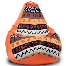 Кресло мешок Африка Оранж (Оксфорд + Жаккард)