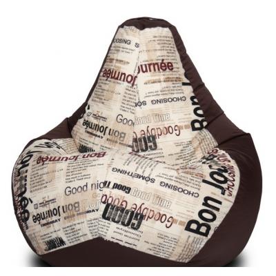 Кресло мешок Браун Газета (Оксфорд + Жаккард)